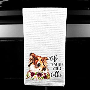 Live is Better with a Collie Waffle Microfiber Kitchen Tea Bar Towel Gift for Animal Dog Lover 5