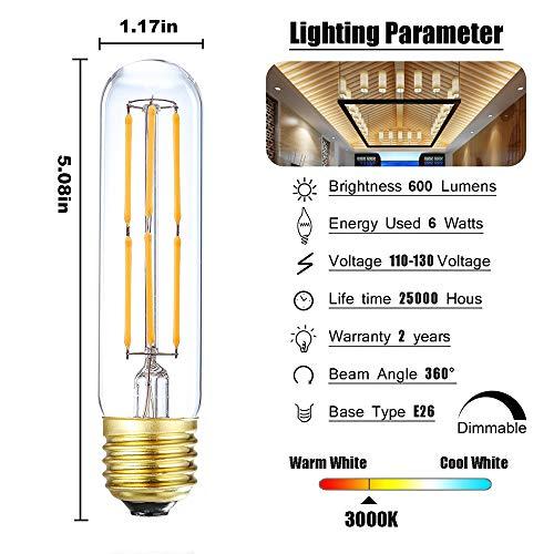 T10 Led Bulb,Dimmable 6W Led Tubular Bulbs, Soft White 3000K, 60 Watt Incandescent Bulb Equivalent, 3000K Soft White, Clear Glass, E26 Base Lamp Bulb, for Cabinet Display Cabinet etc,3 Pack.