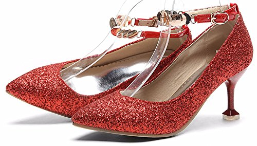 Idifu Womens Sweet Enkelbandje Puntschoen Lage Top Glitter Pumps Schoenen Met Naaldhak Rood