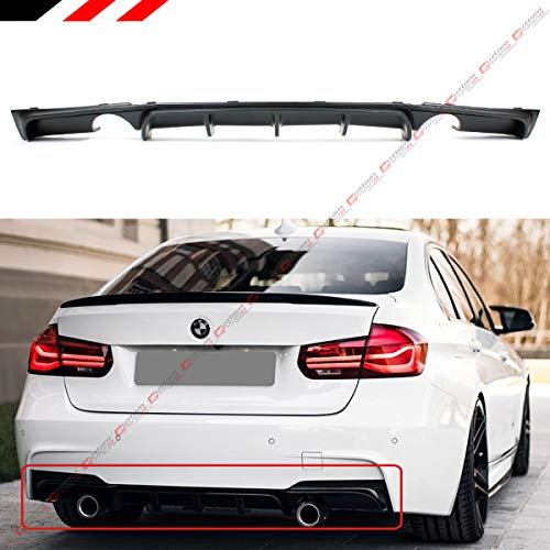 Fits for 2012-18 BMW F30 F31 F35 3 Series M Sport Performance Style Dual Exhaust Black Rear Bumper Diffuser -
