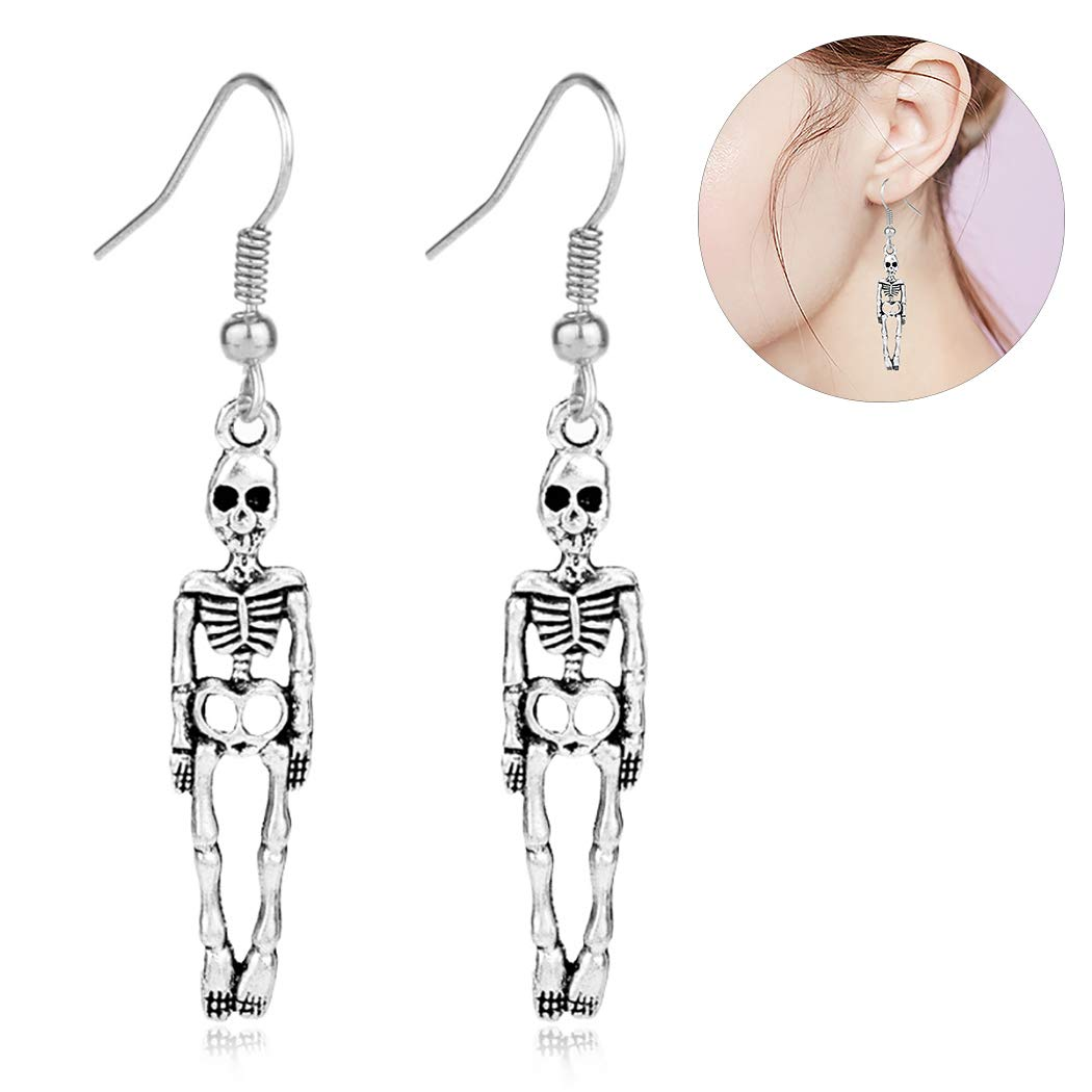 Zoylink Halloween Vintage Earrings Skeleton Earrings Pendant Earrings for Ladies
