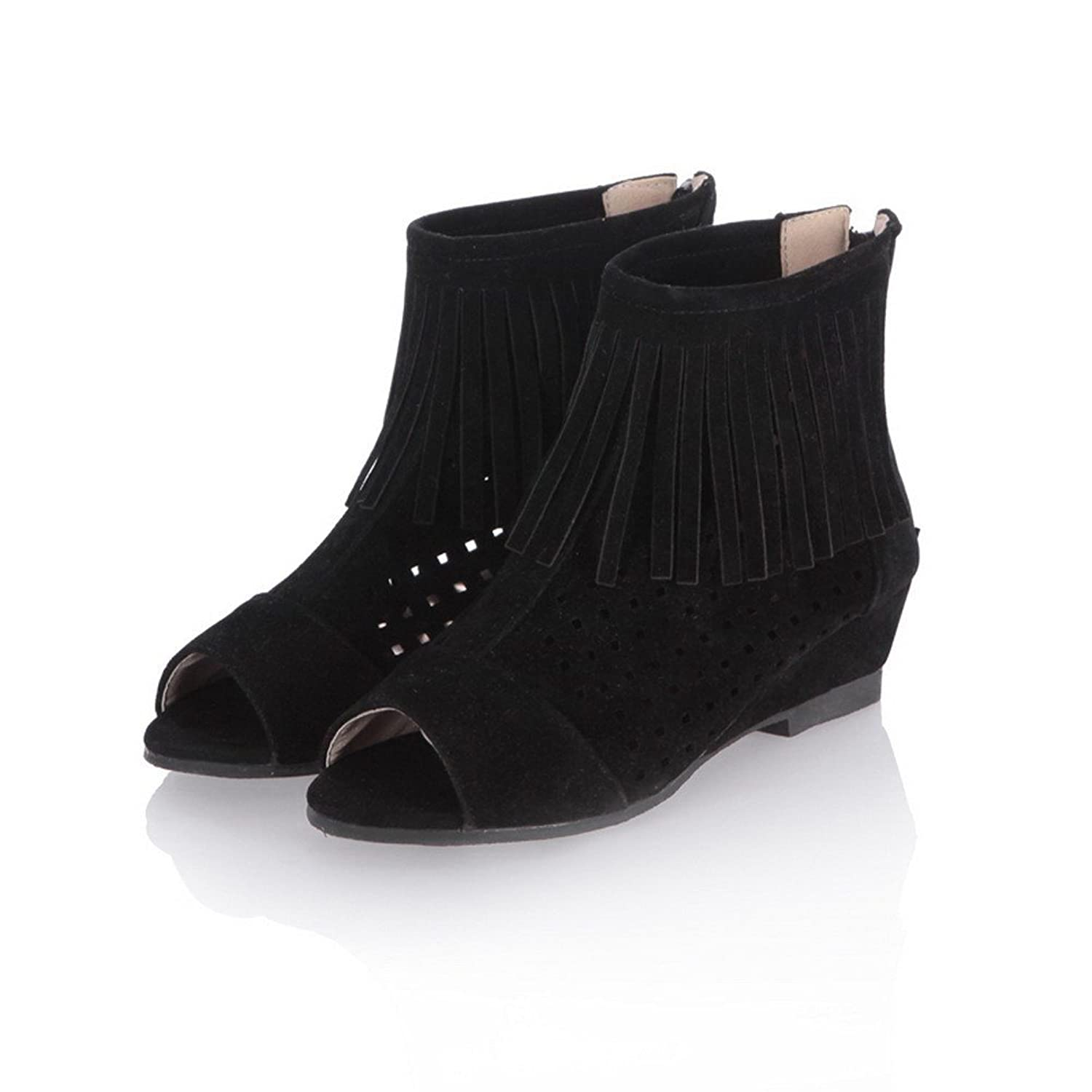 Womens Open Peep Toes Kitten Heel Wedge PU Frosted Solid Boots with Tassels