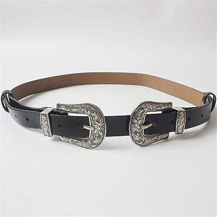 ab235dca3 Vintage Style Jeans Belt Ladies Double Buckle Leather Waist Belt ...
