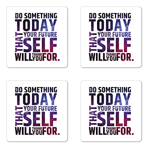 (Ambesonne Inspirational Coaster Set of 4, Do Something Today That Your Future Self Will Thank You for Typography, Square Hardboard Gloss Coasters for Drinks, Dark Purple White)