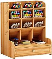 AGAWA Organizador de mesa de madeira, caixa de armazenamento de artigos de papelaria, acessórios de mesa