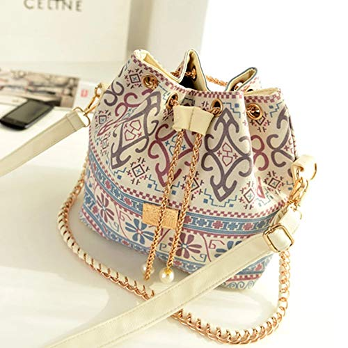 fashion casual simple girl handbags pearl pendant wear rope chain shoulder bag national wind bucket pumping (Dior Women Handbags)
