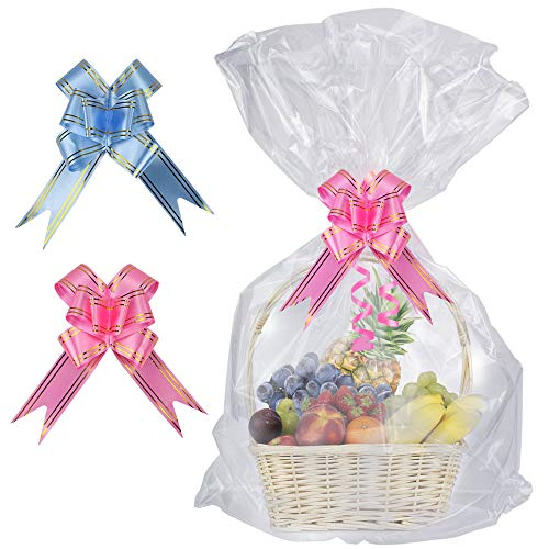 (SelfTek 20 Pack Clear Basket Bags Cellophane Wrap Bags,with 20 Pack Bows Ribbon (Random Two Colors) for Gifts and Baskets,Wrapping,Arts & Crafts,Treat,32 by 22 Inches)