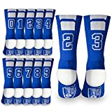 Custom Team Number Crew Socks   Athletic Socks by ChalkTalkSPORTS   Blue   Choose Your Number