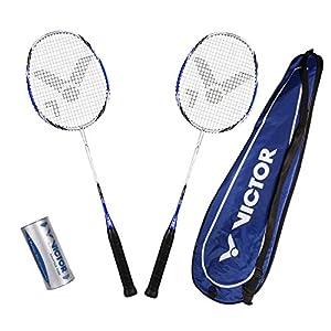 VICTOR Badminton Set, 2x Atomos 600 / Racketbag / 3x Nylonball, Silber/Blau,...