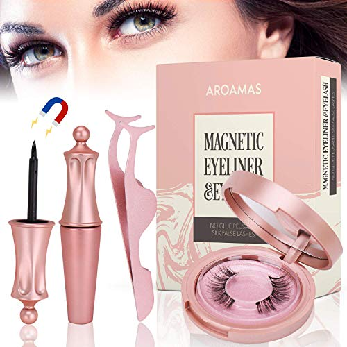 Magnetic Eyeliner and Magnetic Eyelash Kit, No Glue Reusable Silk False Lashes, Easier To Use Than Traditional Magnetic Eyelashes ()