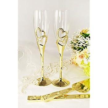 Amazon Com Gold Wedding Toasting Glass Knife And Wedding