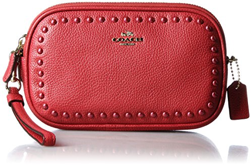 COACH Women's Lacquer Rivets Crossbody Clutch Red Currant Clutch by Coach