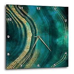 3dRose Uta Naumann Faux Glitter Pattern - Image of Chic Dark Trendy Green Malachite Waves Agate Gemstone Quartz - 13x13 Wall Clock (DPP_315381_2)