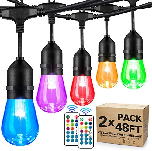 2-Pack 48FT Color Changing Outdoor String Lights, RGB Cafe LED String Light with 30 5 S14 Shatterproof Edison Bulbs Dimmable, Commercial Light String for Patio Backyard Garden, 2 Remote Control, 96FT