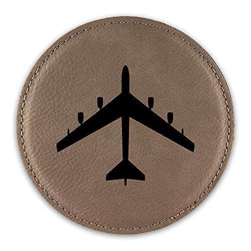 B-52 Stratofortress Drink Coaster Leatherette Round Coasters bomber b52 V2 - Light Brown - One Coaster ()