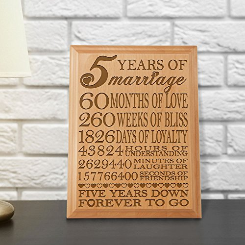 Online Wedding Anniversary Gifts: 5th Anniversary Engraved Natural Wood Plaque