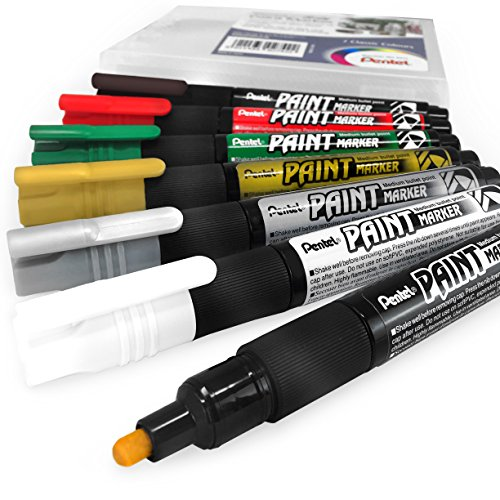 Pentel Cellulose Paint Marker - Medium Bullet Tip - MMP20 - Pack of 7 - Classic Colours (Pentel Markers Silver Colored)