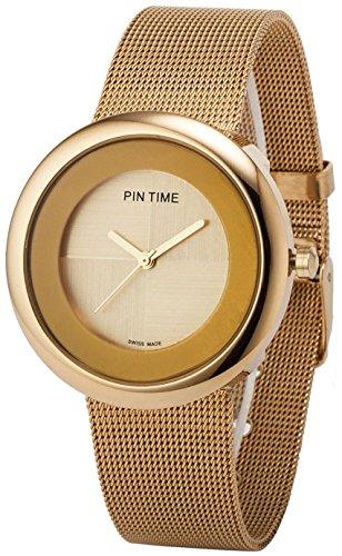 Women's Men's Gold Dial Analog Display Quartz Gold-tone Stainless Steel Mesh Bracelet Dress Wrist Watch