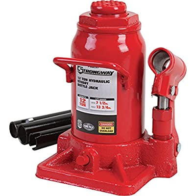 Strongway Hydraulic Stubby Bottle Jack - 12-Ton Capacity, 7 1/2in.-13 3/4in. Lift Range