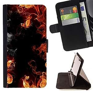 - HELL SMOKE FLAMES FIRE YELLOW RED BLACK - - Prima caja de la PU billetera de cuero con ranuras para tarjetas, efectivo desmontable correa para l Funny HouseFOR Apple Iphone 4 / 4S
