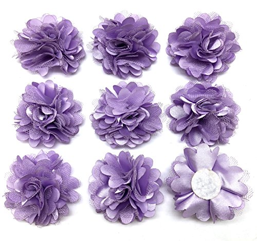 PEPPERLONELY 10PC Set Lavender Lace Chiffon Peony Fabric Flowers, 2 Inch