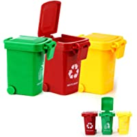 guoYL26sx Toys 3Pcs/Set Bright Color Kids Push Toy Plastic Vehicles Garbage Truck Trash Cans