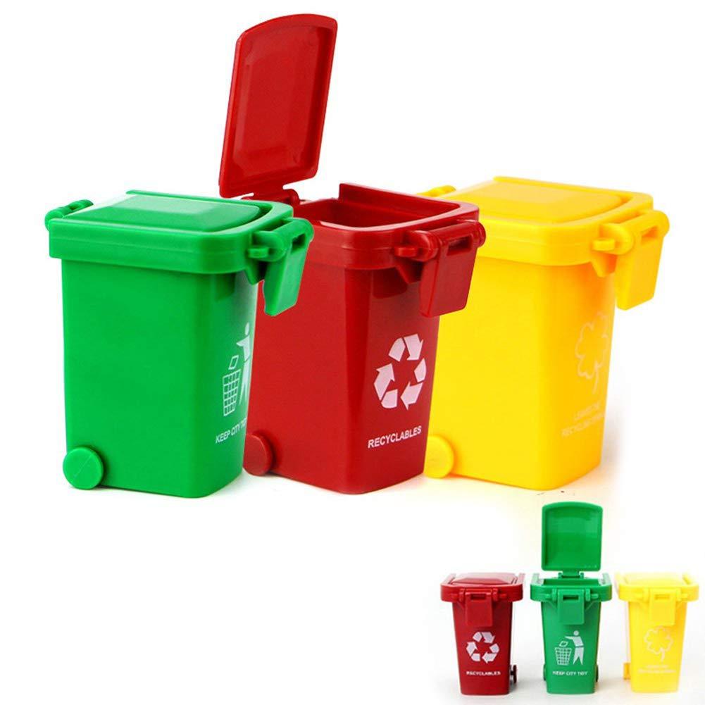 3Pcs/Set Kids Bright Color Plastic Vehicles Garbage Truck Trash Cans Push Toy