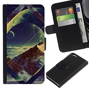 All Phone Most Case / Oferta Especial Cáscara Funda de cuero Monedero Cubierta de proteccion Caso / Wallet Case for Apple Iphone 6 // Geometry Space Mountain