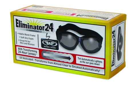 - Eliminator 24 -Transitional Lens Red Baron Motorcycle Aviator Riding Goggles Day Night With Photocromatic Transition Lenses (Clear to Smoke) Boxed and Includes Micro Fiber Pouch for Storage and Safe Cleaning.