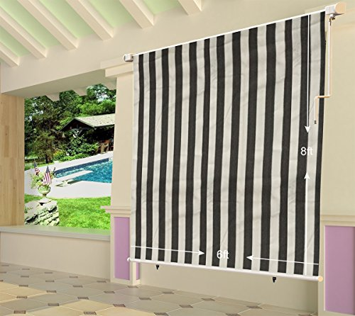 Shatex 6x8ft Grey and White Outdoor Roller Sun Shade Exterior Cordless Roller Shade