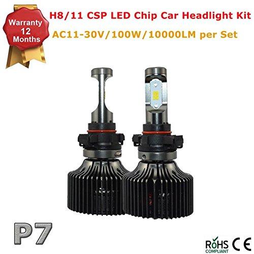 [P7 LED Headlight Bulbs Kit Hi/Lo Beam - H8 H11 -10,000Lm 100W 6000K Cool White CSP LED Chip- 12 Months Warranty] (P7 Led)