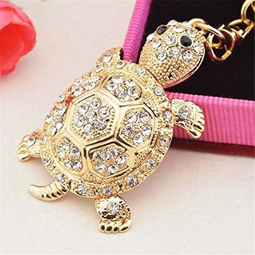 Turtle Keychain Handmade Sparkling Keyring Blingbling Crystal Rhinestones Purse Pendant Handbag Charm (White)
