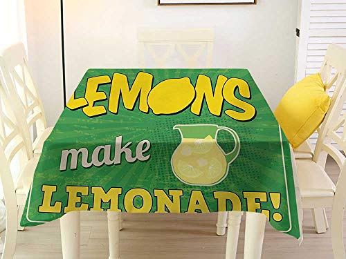 L'sWOW Tablecloth Large Square Tablecloth Quote Vintage Pop Art Advertising Design If Life Gives You Lemon Make Lemonade Green Yellow and Tan Pattern 50 x 50 Inch