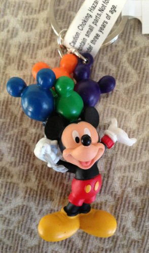 Disney Park Fun Mickey Mouse with Balloons PVC Figurine Keychain NEW -