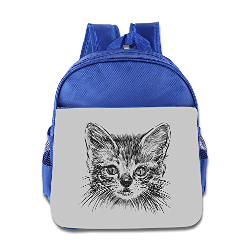 Hello-Robott Three Dimensional Cool Cat Art School Bag Backpack RoyalBlue
