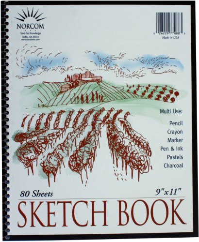 Norcom Wirebound Sketchbook, 11 x 9 Inches, 80 Sheets, Wh...