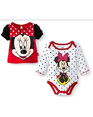 Newborn Girls' Minnie Mouse Bodysuit and Top Set