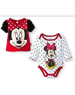 Newborn Girls' Minnie Mouse Bodysuit and Top Set