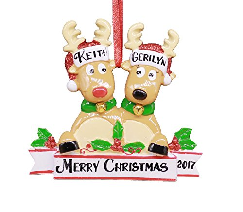 (2018 Reindeer Family Hand Personalized Christmas Ornament - Family of 2 (Couple)