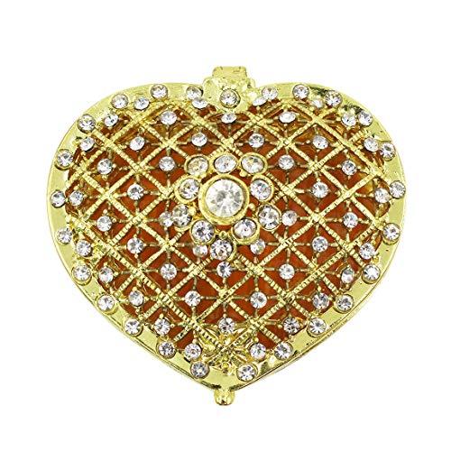 mossty-us Women Cute Rhinestone Jewelry Box Heart Hollow Shape with Shiny Diamond Creative Jewelry Holder Case(Golden)