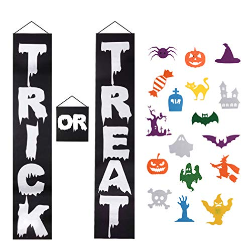 Diy Halloween Porch Decorations (FunPa 3PCS Halloween Banner Decor Felt Porch Sign DIY Door Banner with 16 Pcs Ornaments Trick or Treat Hanging Porch Banner for Kids Gifts Home Indoor Outdoor Halloween Party (Black)