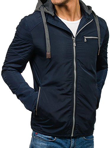 Ribbed Blue Men's Hood 4D4 BOLF Transitional Bomber Casual Basic Zip Navy Quilted Mix Jacket Sport Plain 1709 Fqzdq8Zw