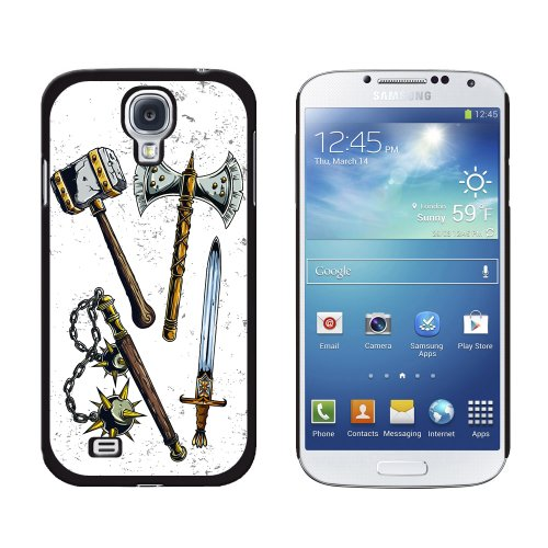 Graphics and More Fantasy Medieval Weapons Axe Sword Mace War Hammer Pattern Snap-On Hard Protective Case for Samsung Galaxy S4 - Non-Retail Packaging - Black