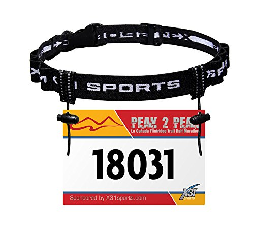 Race Number Belt, Triathlon Running Bib Holder with 6 Fuel Gel Loops for Transitions by X31 - Running Race Belt