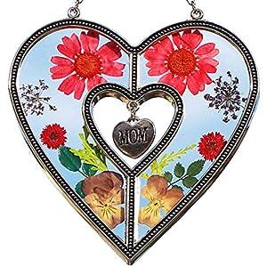 Mom Heart Suncatchers Stained Glass Suncatchers for Windows with Pressed Flower Heart – Glass Heart Suncatchers – Mom…