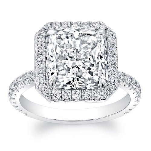 Women's 14k White Gold 2 carat Princess Cut Diamond Halo Engagement Ring
