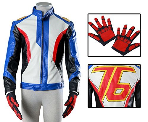 Top Gun Leather Jacket Costume (Another Me Men's Costume Soldier 76 PU Leather Embroidered Cosplay Jacket and Gloves Suit Male)