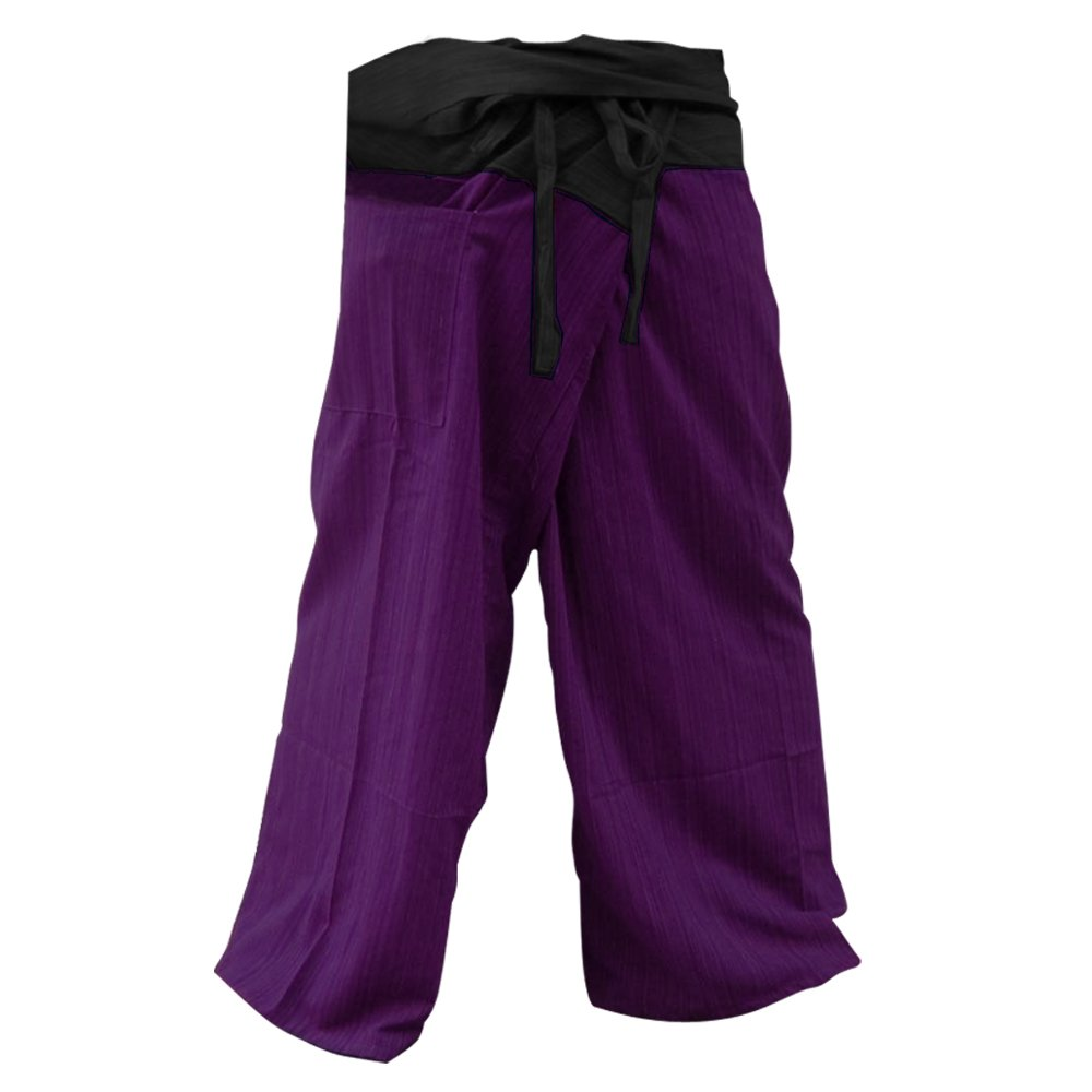 2 TONE Thai Fisherman Pants Yoga Trousers FREE SIZE Plus Size Cotton Drill Striped Charcoal and Purple Thailand