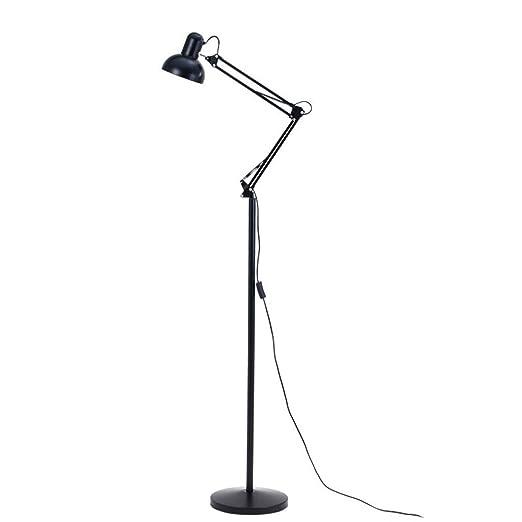 Lámpara De Pie Ajustable Minimalista Moderno Vertical Negro Hierro ...