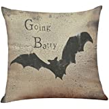 ✿Mose✿ Hot Sale !!!Happy Halloween Square Decorative Throw Pillow Case Cushion Cover Bat Pumpkin (G, Multicolor)
